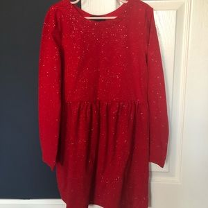 Sparkly red Gap empire waist knit holiday dress